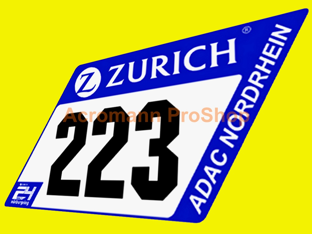 ADAC Zurich 24h 2017 Nurburgring Number Plate Decal x 2pcs